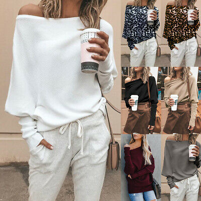 Women Off Shoulder Long Sleeve Loose Baggy Sweater Pullover Jumper Top Plus Size