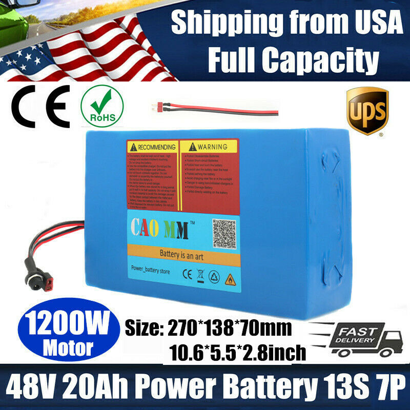 EBike Lithium Li-ion Battery 48V 20AH for ≤1200W Motor Scooter Electric Bicycle