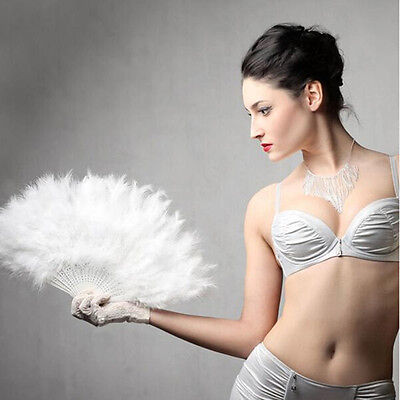 Hand Held Soft Feather Fan Burlesque 20s Flapper Wedding Ladies Fancy Dress *LF