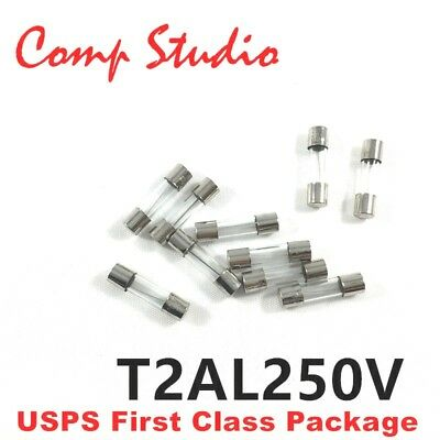 20pcs 2A 250V Slow Blow Acting Fuse Glass Tube Time-Delay Fuse 5X20mm T2AL250V - Glass Tube Time Delay Fuse