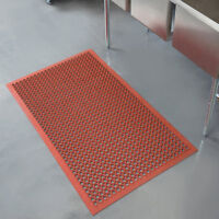 Red Grease-Resistant Rubber Floor Mat with Bevel Edge