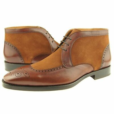 Tan Premium Chukka (Two Tone Tan Brown Premium Leather Men Handcrafted Chukka Lace Up Boots)