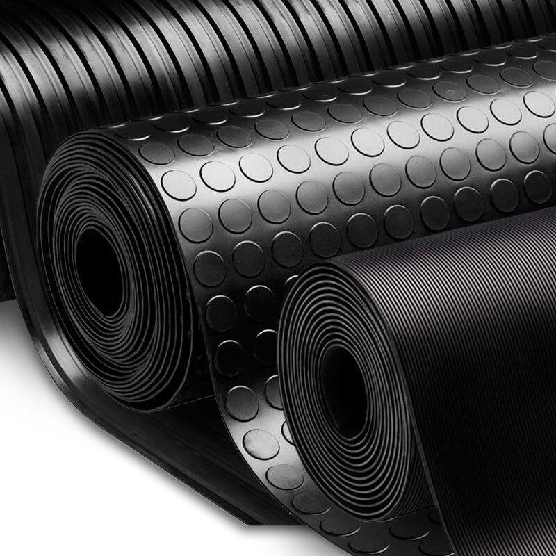 Festnight Gummi Bodenmatte Bodenschutzmatte Gummimatte Antirutsch Matte 2x1 m Feingerippt Stil Schwarz