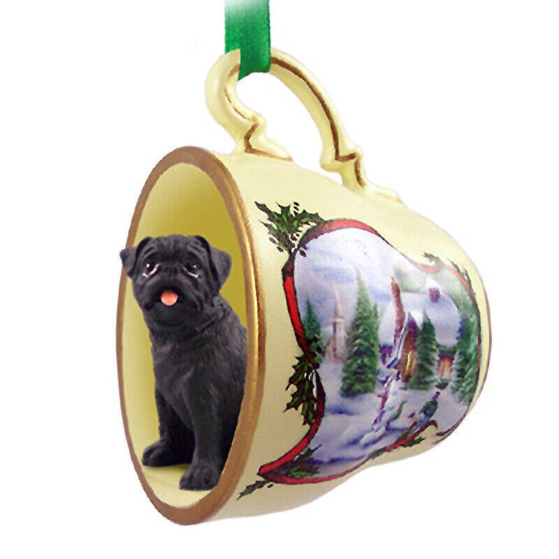 Pug Christmas Ornament Teacup Black