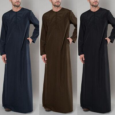 Men Thobe Thoub Abaya Zipper Shirt Juba Daffah Dishdasha Islamic Arab Kaftan UK
