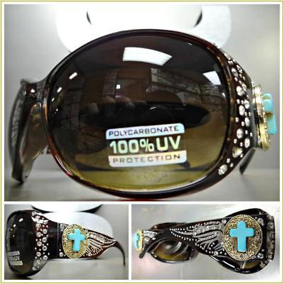 WESTERN Bling Rhinestone COWGIRL SUN GLASSES Brown Frame Turquoise Cross - Turquoise Sunglasses
