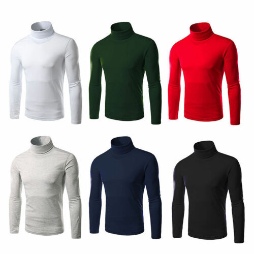 Mens Turtle Neck Long Sleeve T-Shirt Pullover Jumper Slim Fit Tops Tee Blouse Clothing, Shoes & Accessories