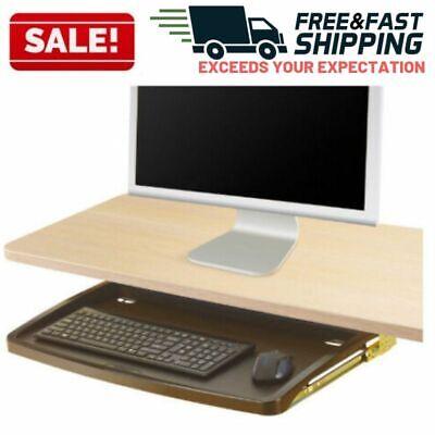 Under Desk Keyboard Tray Mouse Drawer Sliding Mount Adjustable Office Home