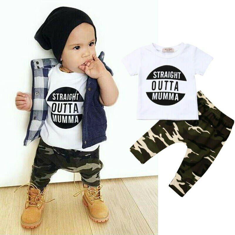 Ropa De Bebe Varon Nino Conjuntos De Ninos Camisas Pantalones Monos Militar 2pc Ebay