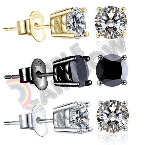 925 Sterling Silver Stud Earrings Men Women 3,4,5,6,7,8,10mm Diamond Round#213