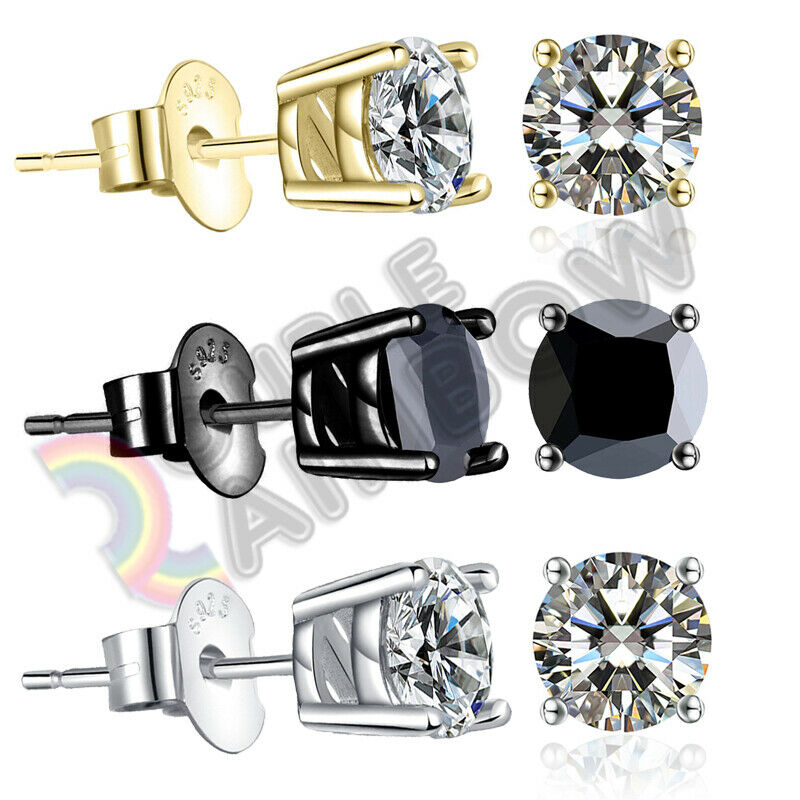 925 Sterling Silver Stud Earrings Men Women 3,4,5,6,7,8,10mm