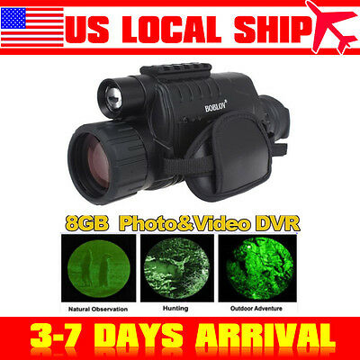 "8GB 1.44"" Monocular Zoom Night Vision Scope Binoculars 5x40 Infrared IR Digital"