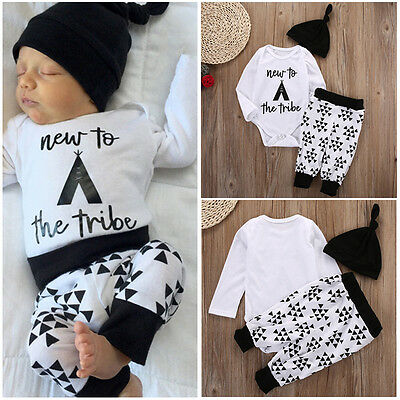 Canis Newborn Baby Boys Girls New to the Tribe Romper Pants Hat Outfits Clothes