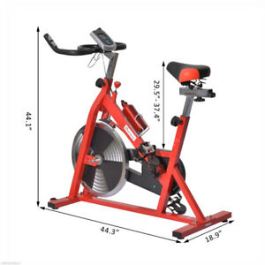 Upright Stationary Exercise Cycling Bike w/ LCD Monitor - Red
