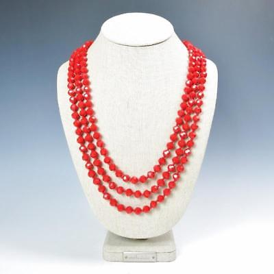Sparkling Faceted Bright Red Crystals Bead Knotted 72