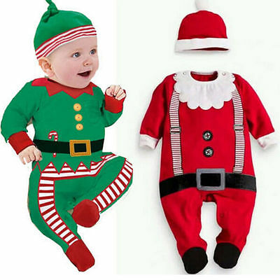 Baby Christmas Clothes Outfits Boys Girls Kids Romper Hat Cap Set Gift for 0-2T](Christmas Outfits For Girls)