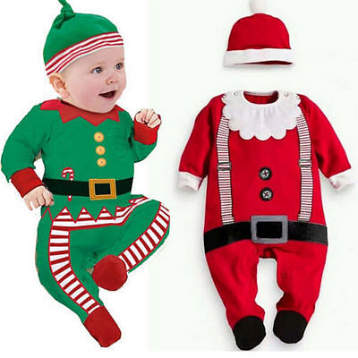Baby Christmas Clothes Outfits Boys Girls Kids Romper Hat Ca