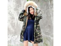 DAYMISFURRY--AW18 Faux Fur Lined Military Parka with Raccoon Fur Hood