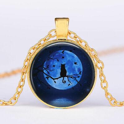 CAT BLUE MOON Glass gem charm pendant GOLD FILLED 18K necklace 20