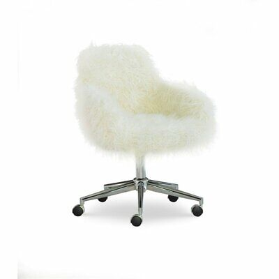 Linon Fiona Faux Fur Upholstered Office Chair In White