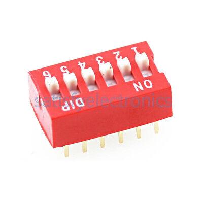 10pcs Slide Type Switch Module 2.54mm 6-bit 6 Position Way Dip Red Pitch