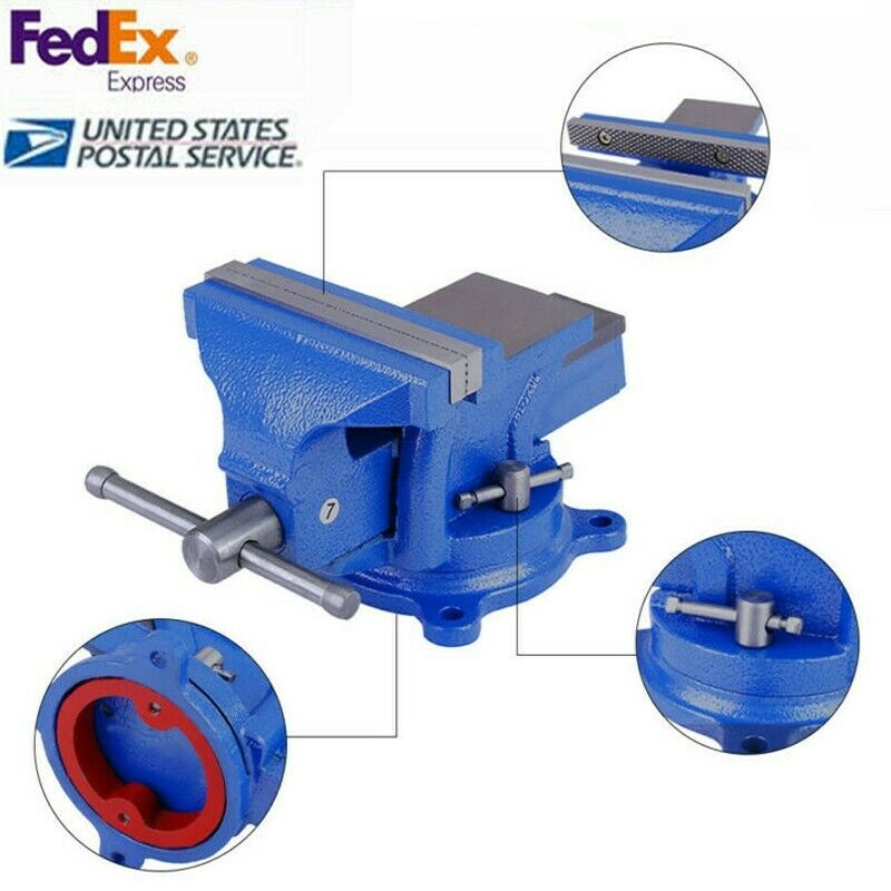 5 In Bench Vise With Anvil Swivel Locking Base Table top Cla