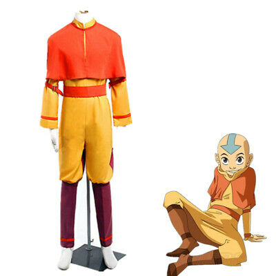 Avatar The Last Airbender Aang Full Set Halloween Cosplay Costume Custom Made (Airbender Halloween Costume)