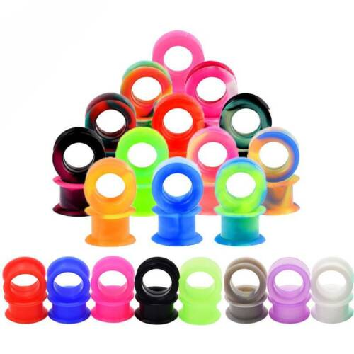 20Pairs Random Thick Silicone Ear Gauges Soft Tunnels Plugs Earskins Expander