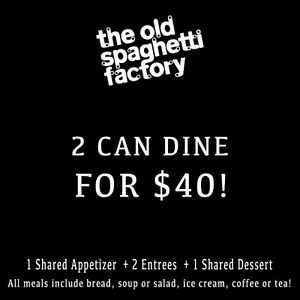 2 Can Dine For $40 Spaghetti Factory Banff