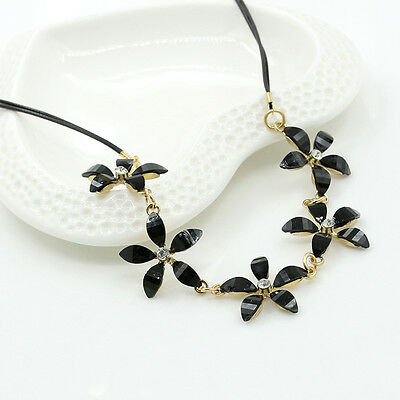 Fashion Women Bib Chain Statement Pendant Collar Flower Crystal Necklace Jewelry