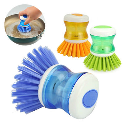 Dish Brush with Washing Up Liquid Soap Dispenser Kitchen Utensil Pot Clean Brush
