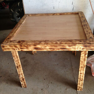 home crafted end tables and coffee tables,  games table   signs