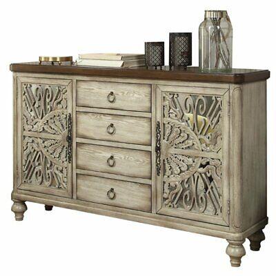 vermont antique white console table