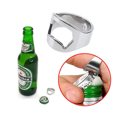 2 x Stück Flaschenöffner Kapselheber Edelstahl Finger Ring Bier Bottle Opener (Ring Flaschenöffner)