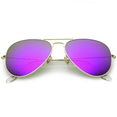 Premium Small Colored Mirror Glass Lens Classic Matte Metal Aviator (Coloured Lens Glasses)