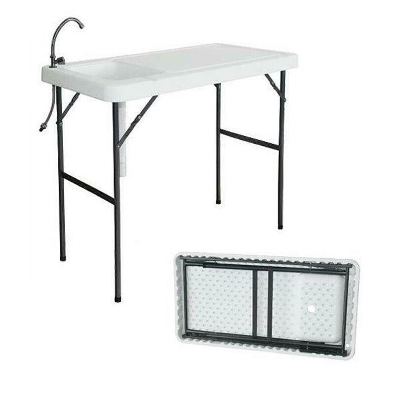 Portable Folding Table Fish Fillet Cleaning Cutting Outdoor Camping Picnic Table