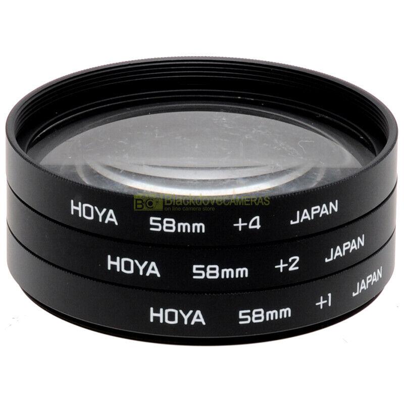 58mm Kit 3 lenti Macro +1 +2 +4 diottrie Hoya per obiettivi. Close up filter set