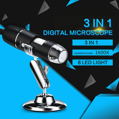 3in1 1600x Usb Digital Microscope Handheld 8 Led 1080p Hd Camera For Android