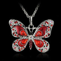 2015 Rhinestone & Crystal Red Butterfly Pendant Necklace