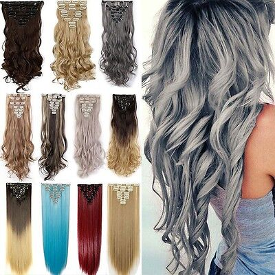 8 Tressen Clip in Hair Extensions Haarverlängerung Gewellt Grau Haarteil Perücke ()