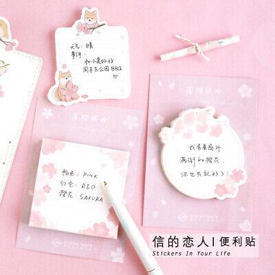2 Packs Sakura Cat Sticky Notes Memo Pad Sticker Bookmark Office School Supplies