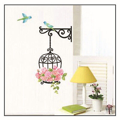 Flower Bird Cage Removable Wall Sticker Room Decor Mural Art Home Decal Cute