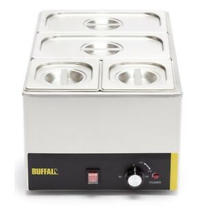 Buffalo Bain Marie With Pans 1.3kW Wet Heat. 2x GN 1/3 & 2x GN 1/6 pans included