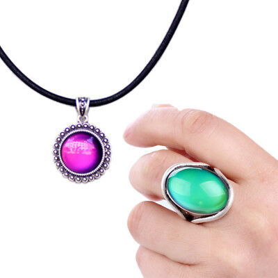 Mood Ring For Sale (Womens Gift Jewelry Sets Mood Pendant Necklace and Color Change Ring for)