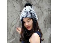 DAYMISFURRY--Rex Rabbit Fur Lady Beanie Hat In Black Frost