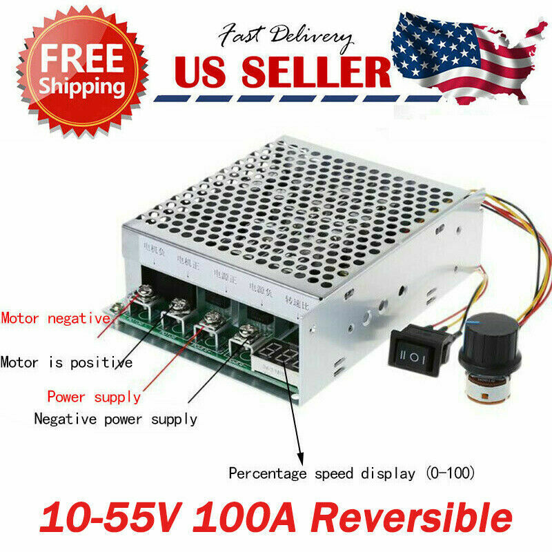 10-55V 100A 5000W Reversible DC Motor Speed Controller PWM Control Soft Start