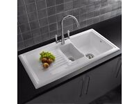1.5 Bowl White Reversible Ceramic Kitchen Sink