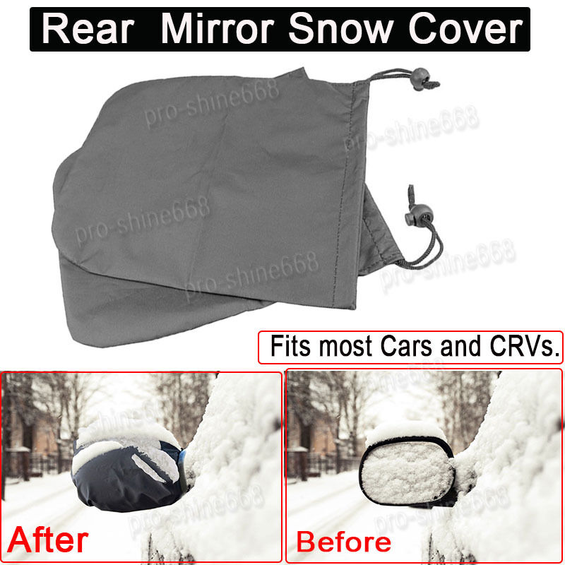 Universal Car Side Rear Mirror Protector Snow Ice Frost Guard Cover Black 2pcs