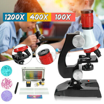 23pcs 100x-1200x Starter Compound Microscope Science Kit For Kids Student Us