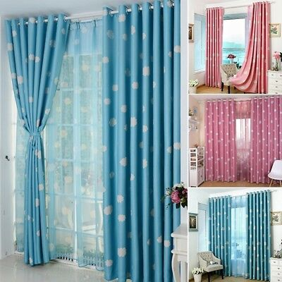 - Newly Blackout Curtain Cloud Printed Baby Boy Girl Thick Heavy Eyelet Drapes 1PC